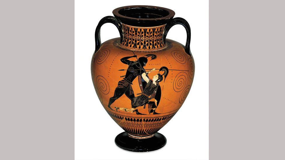 An Athenian amphora of 530BC depicts Achilles killing the Amazon queen Penthesilea (Credit: Trustees of the British Museum)