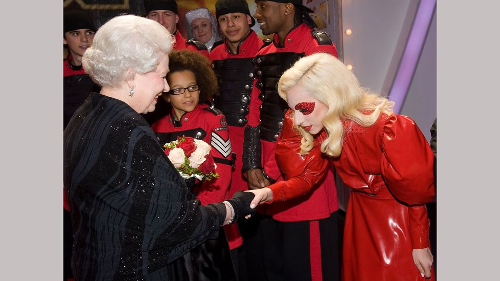 In 2009, Lady Gaga wore a red Atsuko Kudo latex dress when she met the Queen (Credit: Getty Images)