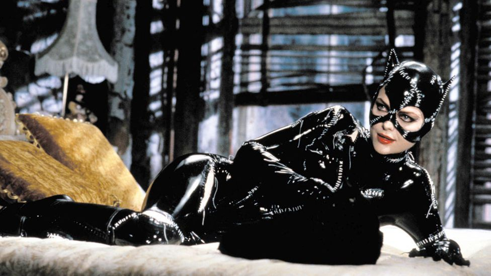 In the 1992 film Batman Returns Michelle Pfeiffer plays Catwoman, who wears a latex catsuit (Credit: Warner Brothers)
