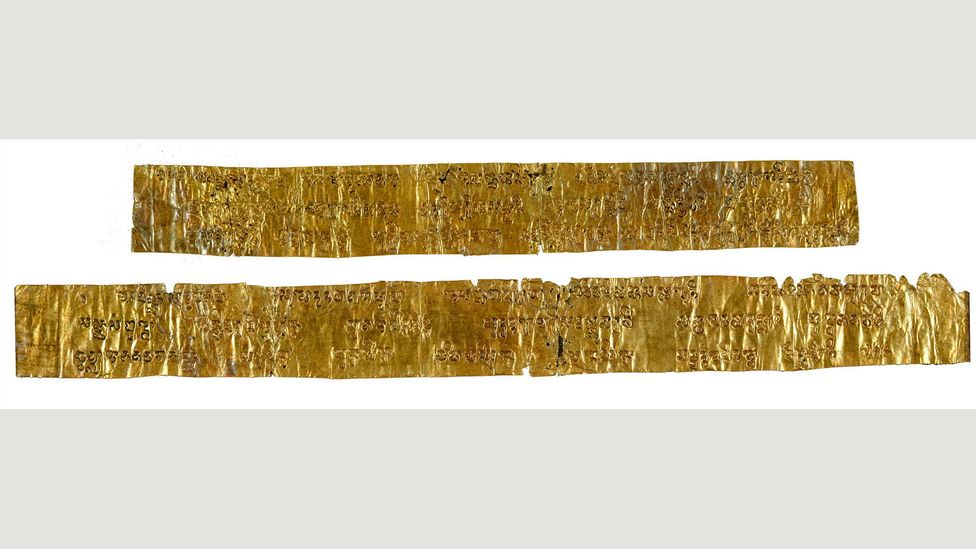 These gold sheets are from the Pyu kingdoms, and date to the 5th Century AD; they were excavated in Burma in 1897 (Credit: British Library Board)