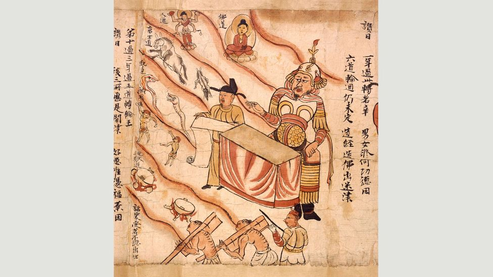 This 10th-Century scroll illustrates the Sutra of the Ten Kings, describing ten stages during the transitory phase following death (Credit: British Library Board)