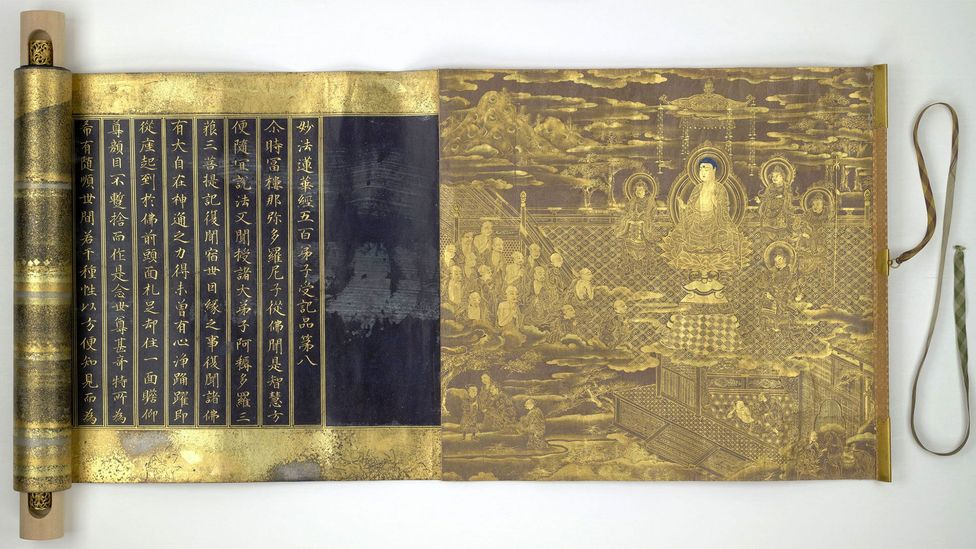 The Lotus Sutra is seen by many as a summary of the Buddha's teachings; this 17th-Century scroll from Japan is written in Chinese characters (Credit: British Library Board)
