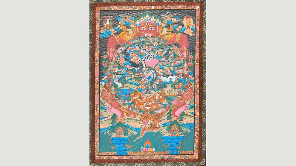 This thangka painting depicts the wheel of life (Credit: Master Buddha Lama, Sunapati Thangka Painting School, Bhaktapur, Nepal)