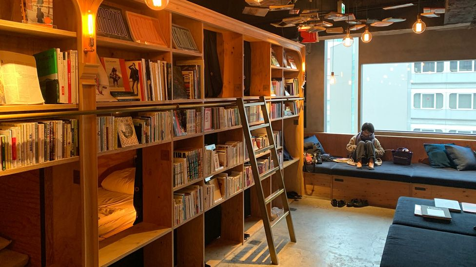 At Book and Bed Tokyo, guests can stay overnight or just pay for a couple of hours to read and mingle with others (Credit: Bryan Lufkin)