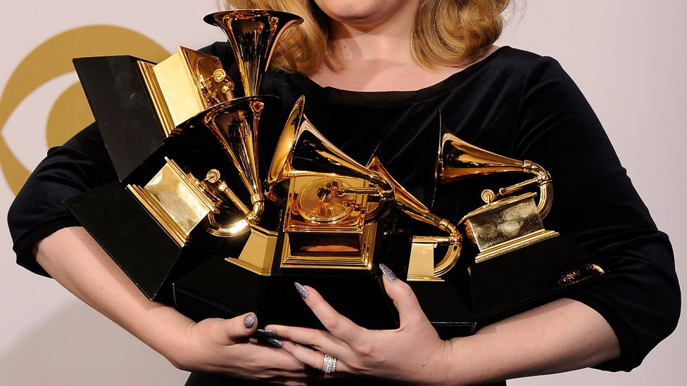 Adele winning Grammy Awards