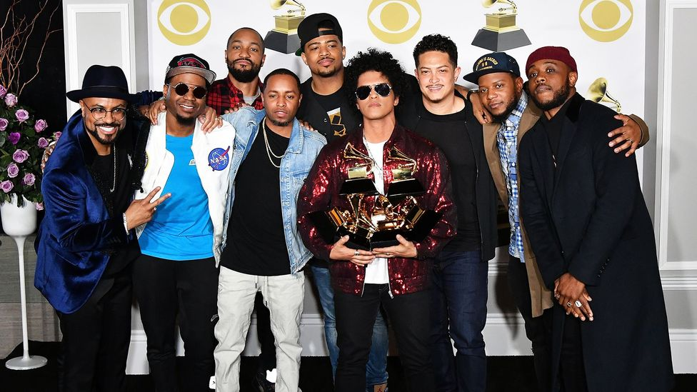 Bruno Mars winning a Grammy Award for That's What I Like