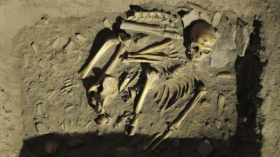A reconstruction of a Neanderthal burial at Chapelle-aux-Saints, France (Credit: Getty Images)