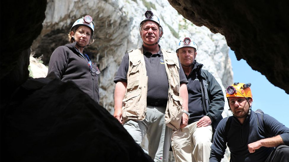 Finlayson and colleagues at Gorham's Cave – the last known place where Neanderthals lived? (Credit: BBC)