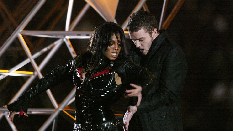 Janet Jackson and Justin Timberlake at the Super Bowl Halftime show 2004