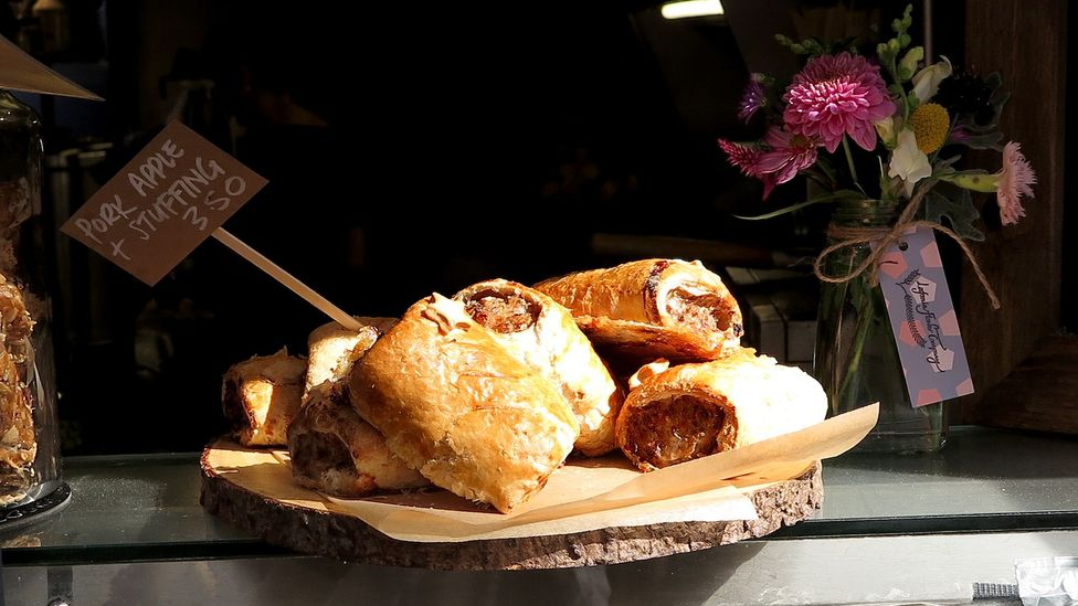 Behold, the sausage roll: a staple of British snacking. Its 'veganisation' has taken the country by storm (Credit: Getty Images)