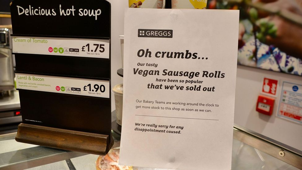 The vegan sausage roll has led to a 13.5% sales increase for the supermarket chain Greggs since it introduced the product last year (Credit: Alamy)