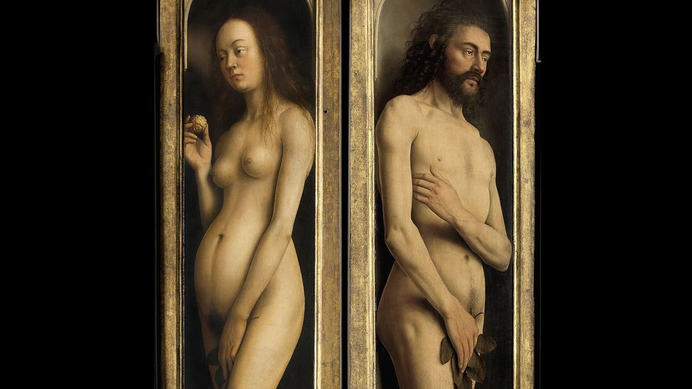 Van Eyck's Adam and Eve feature the first depiction of pubic hair in Western painting