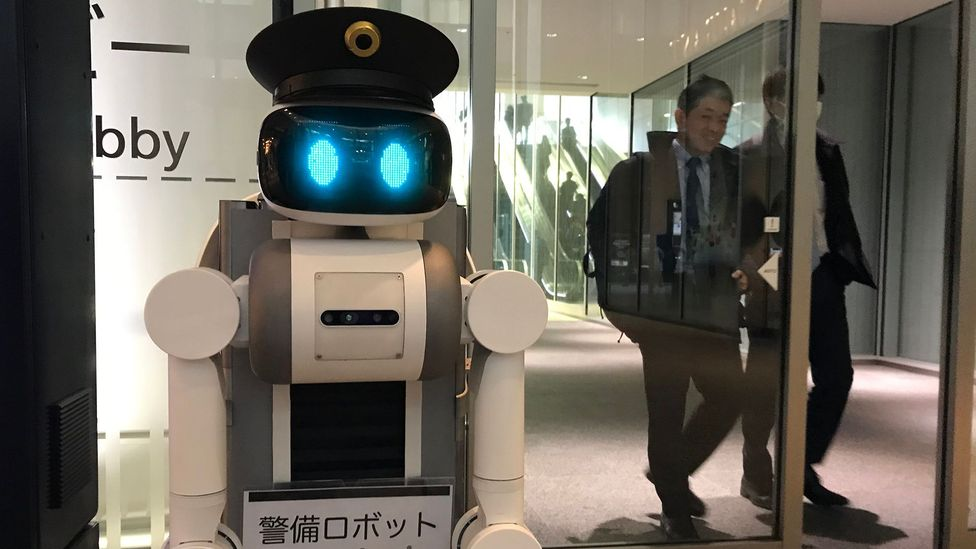 This police robot acts as eyes and ears for human officers in a different room. Countries like China and South Korea have expressed interest in such tech (Credit: Bryan Lufkin)