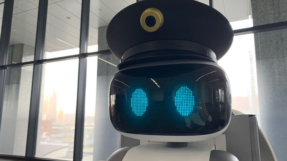 This police robot in a Tokyo office building runs on batteries and patrols the premises for remote human staff (Credit: Bryan Lufkin)