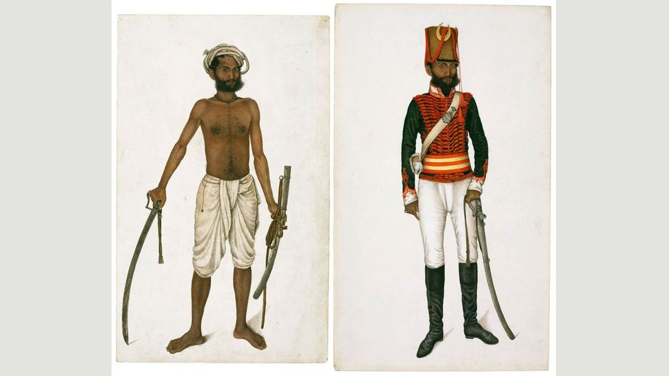Left: Kala after Killing a Tiger; Right: Kala in the Uniform of Skinner's Horse (1815-1816), by an artist in the circle of Ali Khan (Credit: David Collection, Copenhagen)