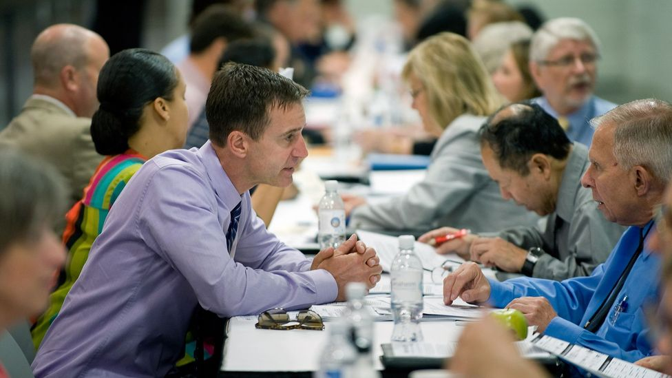 "A job fair in California. Learning Economy hopes to ""unify the supply chain"" and help schools and employers better manage skill development (Credit: Getty Images)"