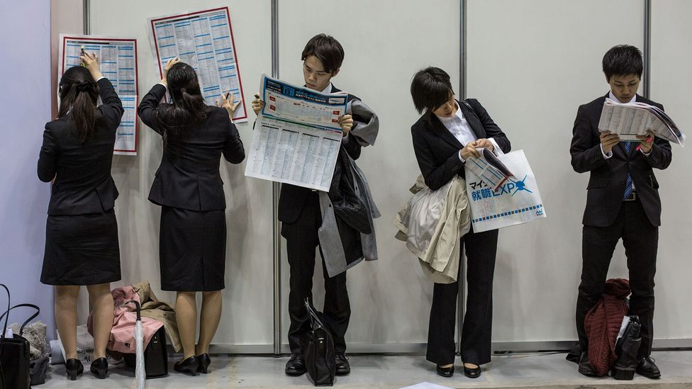 A job fair in Japan. Skill-mapping tech could help schools and companies spot possible gaps in training, better aiding students and workers for growth (Credit: Getty Images)