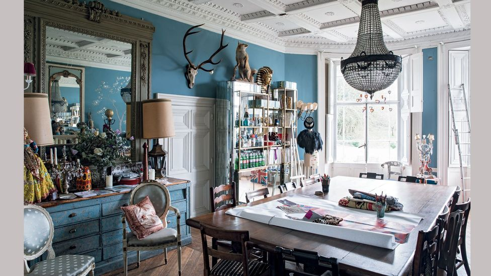Temperley's dining room doubles as a studio, and is full of quirky finds