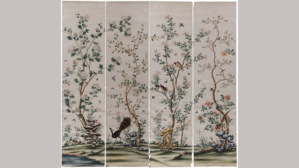 Perfectly preserved Chinese exported wallpaper was found in the attic at Spetchley, reflecting previous generations' tastes and passions