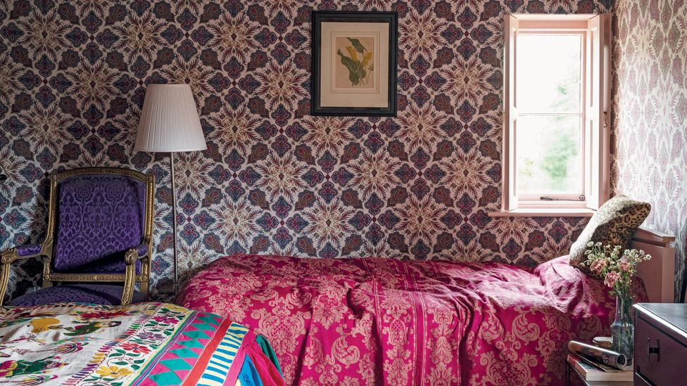 Sumptuous textiles and patterned wallpapers are in every room of the jewellery designer's house