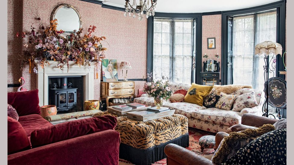 The drawing room of Pearl Lowe's Somerset home reflects her love of 'faded glamour'