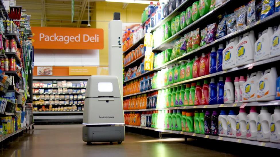 A shelf-scanning robot navigates the aisles of a department store (Credit: Bossa Nova Robotics)