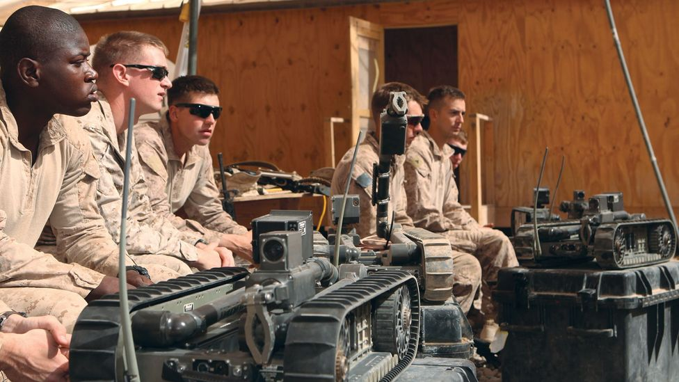 PackBot is a bomb-seeking robot that can defuse and dispose of dangerous explosive devices via remote control (Credit: US Marine Corps)