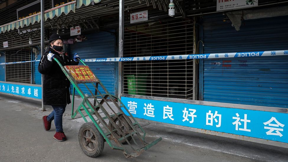 The Huanan Seafood Wholesale Market was been linked to early cases of coronavirus and was quickly closed by the authorities (Credit: Getty Images)