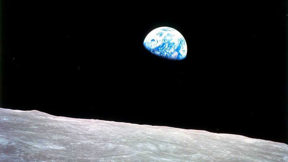 The famous Earthrise picture captured by Apollo astronauts has helped to inspire awe by giving us perspective of humanity's place in the Universe (Credit: Nasa)