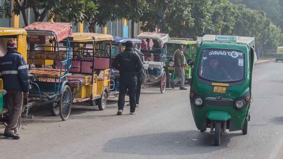 Rickshaws are a popular vehicle to take passengers on the final leg of their journey (Credit: Lou Del Bello)