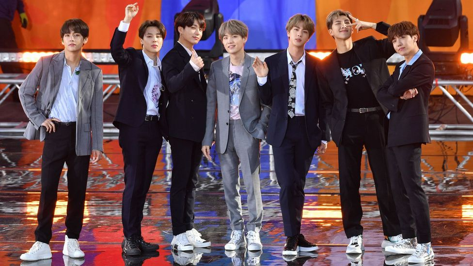 The seven-member boy band BTS formed in 2010, and have since become the first group since The Beatles to top the US charts with three albums in less than a year (Credit: Alamy)