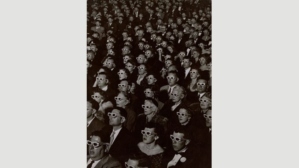 Audience watches movie wearing 3-D spectacles, 1952 by JR Eyerman (Credit: The Picture Collection Inc/ Museum of Fine Arts, Boston, The Howard Greenberg Collection)