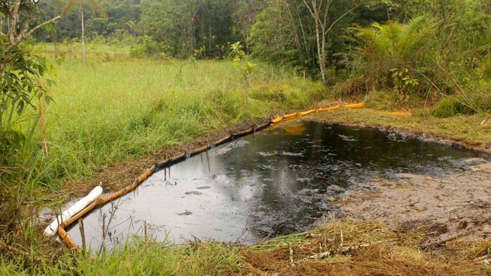 Some oil pollution is cleared up quickly, such as this pool at the Parahuaco oil field in Succumbios, northern Ecuador (Credit: Donald Moncayo/UDAPT)