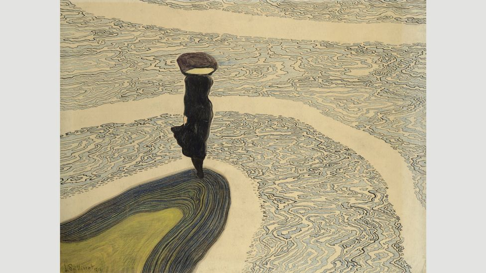 The sea is a constant presence in Spilliaert's work, such as Woman at the Shoreline (1910); its restless current mirrored the painter's inner turmoil
