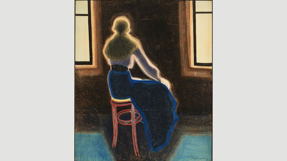 Young Woman on a Stool (1909) is surrounded by a glowing aura as if fizzing with energy