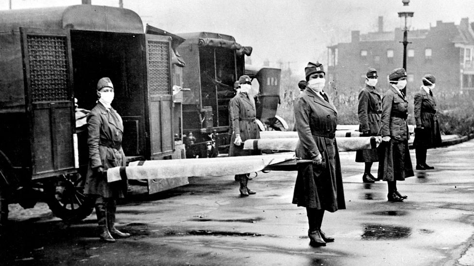 The 1918 influenza epidemic killed some 50 to 100 million people around the world, including here in St Louis, Missouri (Credit: Getty Images)