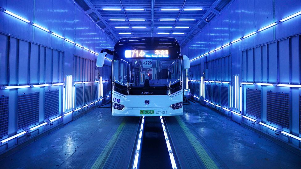 A bus is disinfected using UVC in Shanghai, China (Credit: Getty Images)