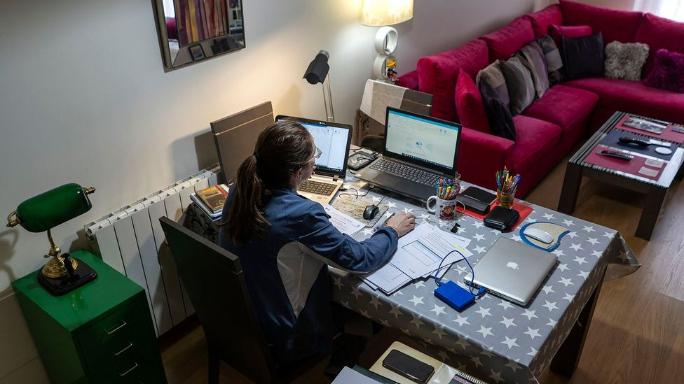A woman in Mexico teleworking during the coronavirus pandemic. Juggling new challenges in our new reality has allowed burnout to seep into the crisis (Credit: Getty Images)