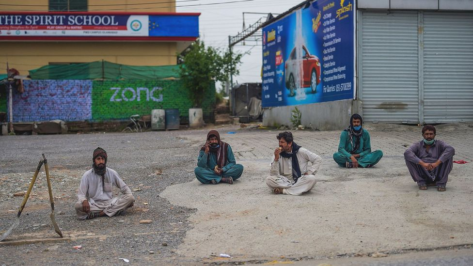 The concept of social distancing is new in Pakistan – and it has left many daily wage earners out of work (Credit: Farooq Naeem/Getty Images)