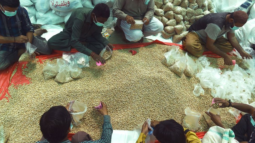 Since the pandemic, many charity organisations in Pakistan have reported a surge in food and monetary donations (Credit: Asif Hassan/Getty Images)