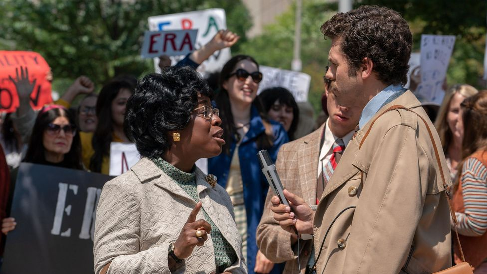 Uzo Aduba (left) is fierce and poignant as Shirley Chisholm, the first black woman in Congress