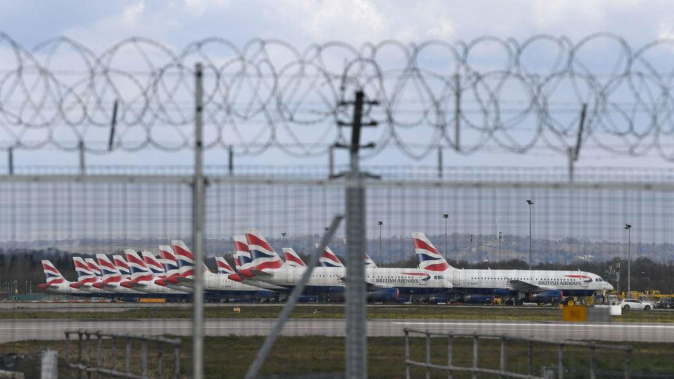 British Airways planes are parked up in a row on March 31, 2020 in Gatwick, England (Credit: Getty Images)