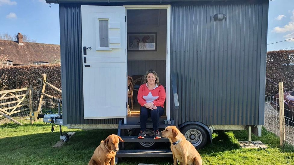 Emma Cantrill and her husband rented a shepherds hut to use as a home office, after finding it too distracting to work in the house (Credit: Emma Cantrill)