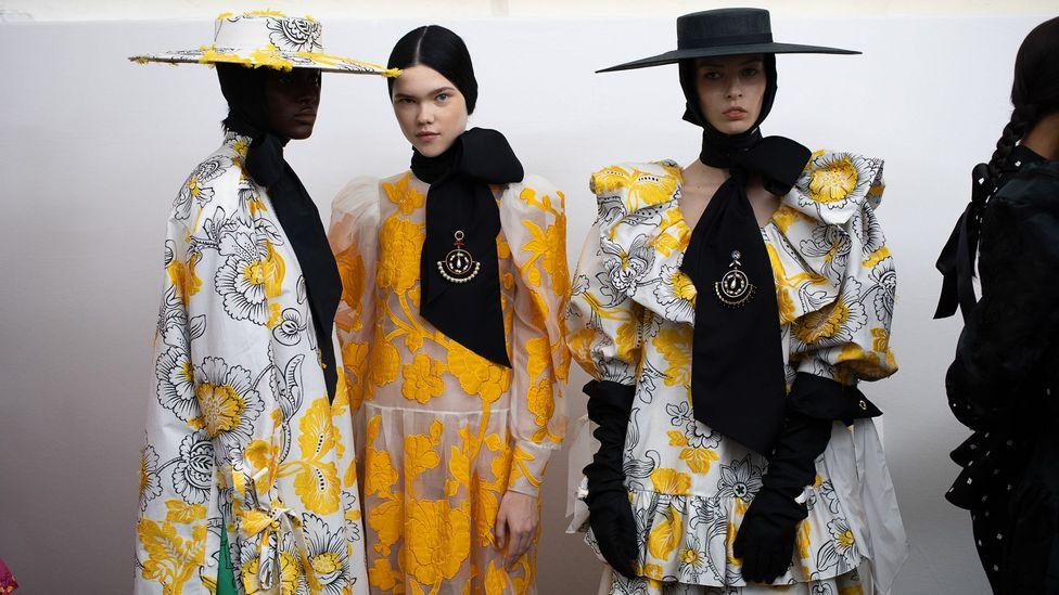 Models backstage at the Erdem show at London Fashion Week, September 2019