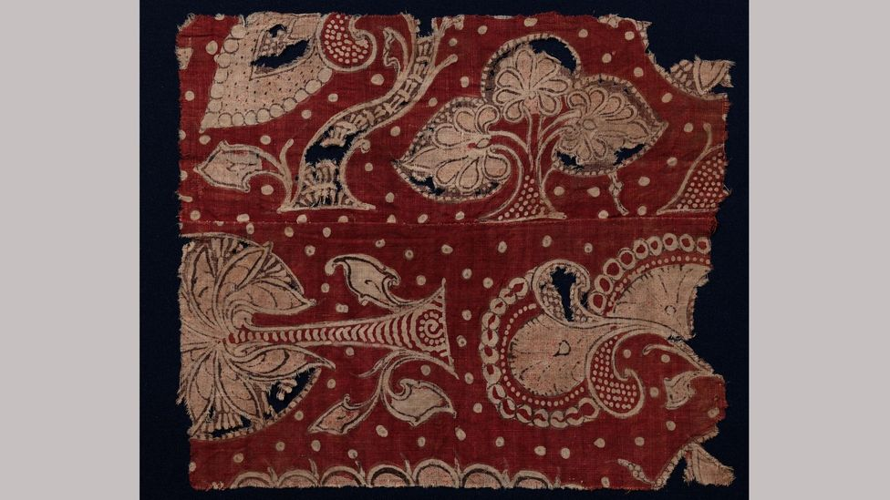 Flowering trees are depicted in this early textile, created in western India for the Egyptian market in the late 13th or early 14th Century