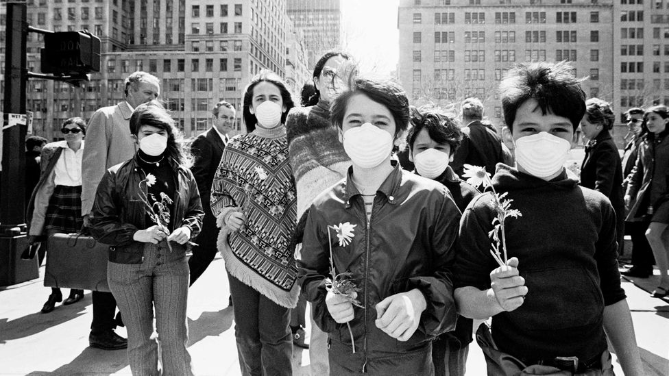 Fifty years on from the first Earth Day in 1970, pictured here, much of the world is wearing masks for a different reason - and the protest has moved online (Credit: Getty Images)