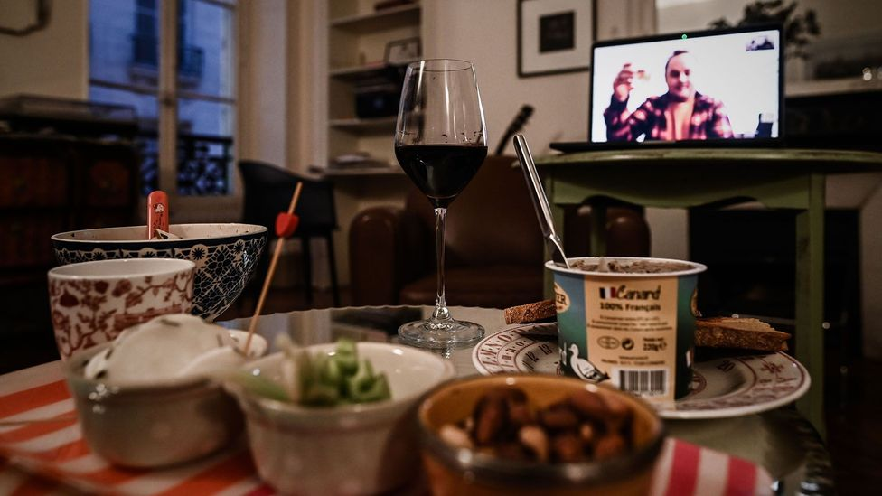 A virtual dinner party in France last month. Experts say basic social etiquette transfers to this new era of socialising, too (Credit: Getty Images)