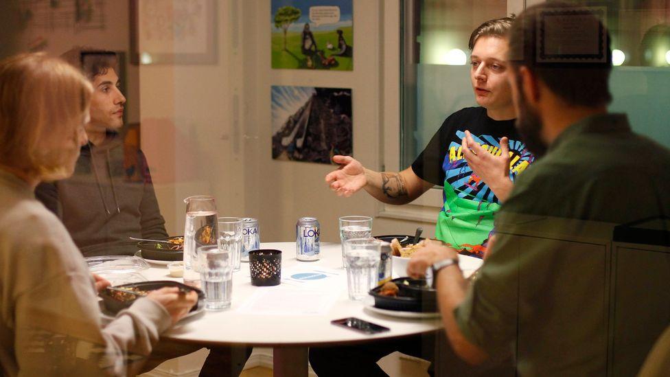 Make Equal, a Sweden NGO which works to promote gender equality, holds killmiddag dinners to offer a platform for men to discuss gender sensitive topics (Credit: Make Equal)
