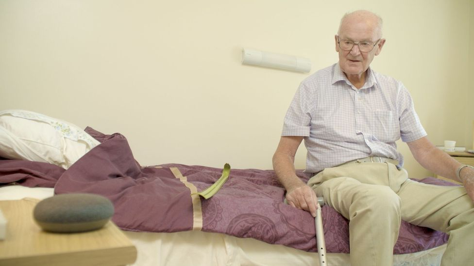 92-year-old John Winward in Bournemouth, England participated in an experiment testing how smart speakers could tackle loneliness (Credit: Abbeyfield Society/Greenwood Campbell)