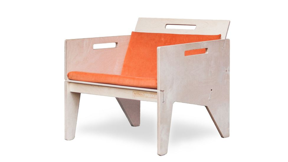 The Nomad chair in birch ply is easily assembled and dis-assembled